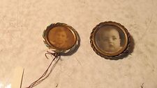2 Antique Photo Images Broach Pins