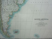 1910 MAP ~ SOUTH AMERICA SOUTHERN SHEET CHILE ARGENTINE LAPLATA URUGUAY FALKLAND