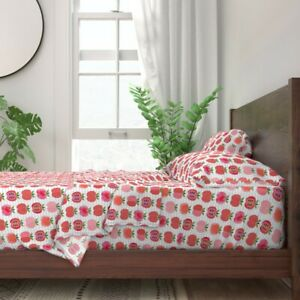 Pink Apple Summer Fruit Kitchen Decor 100% Cotton Sateen Sheet Set by Roostery