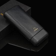 COHIBA Cigar Travel Case Holder Leather Cedar Wood Link 3 Tube Carbon Fiber