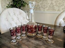 Vintage Brf Italian Cranberry Etched Glass Decanter & 6 Cordial Glasses