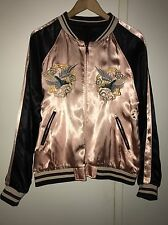 ZARA PINK AND BLACK EMBROIDERED REVERSIBLE BOMBER JACKET SIZE S. REF. 3440/044
