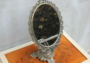 Vintage French Vanity Mirror Brass Oval Mirror Adjustable Boudoir or Dressing Ta