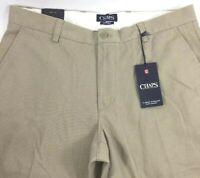 CHAPS Classic Straight Flat Front Men's Pants Hudson Tan NEW $60 Size: 34 X 32