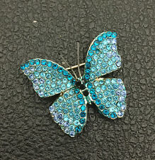 Betsey Johnson Brooch Pin Blue Crystal Rhinestone Butterfly Insect