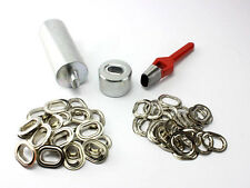 Oval Ösen Set Einschlagstempel Locheisen + 20 x Öse Messing Nickel 22,5 x 13,5