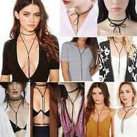 Sexy Women Retro Choker Bohemia Neck Tie Cord Long Necklace Chain Jewelry Gift