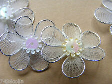 Craftime White Mesh Flowers, Colour Connections, 10 Pieces, BNIP, AC0110W
