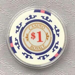 JAMES BOND 007 - CASINO ROYALE, WHITE $1 POKER CHIP CARD GUARD/PROTECTOR