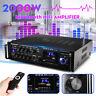 2000W 110V 2CH bluetooth Stereo Amplifier Karaoke FM USB Dual Microphone 2