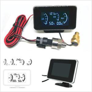 9-36V Car 3IN1 LCD Digital Display Voltmeter Gauge Water Temp Oil Pressure Meter