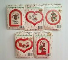 What's New Inc. Whimsical Christmas Cross Stitch Ornament Kits w/Frames Lot of 5