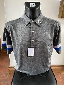 Brand New Footjoy Polo Shirt - Charcoal/Blue/White - XL