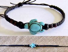 TURTLE ANKLET TURQUOISE STONE WOOD BEADS ADJUST COTTON CORD MEN WOMEN BEACH SURF
