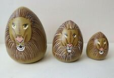 Hand Painted Wood Lion Head Nesting Egg Shaped Animal Stacking Doll Toy