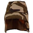 Foreign Legion Cadet Long Neck Flap Hat  Military Flat Top Brown Desert Camo