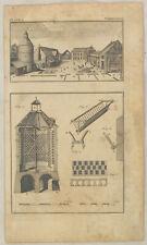 TAUBEN Taubenhaus Orig. Kupferstich um 1780 Taubenschlag Geflügelzucht Geflügel