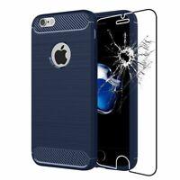 Coque Apple iPhone 7 iPhone 8 Etui Gel Housse Motif Fibre Carbone + VERRE Trempé