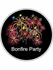 "Novelty Bonfire Party Fireworks 7.5"" Edible Wafer Paper Cake Topper guy fawkes"