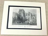 1860 Antique Engraving Print Church of the Holy Sepulchre Jerusalem Israel Art