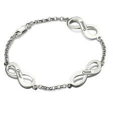 Armband Gravur Unendlichkeit Infinity Schleife Namen 925 Silber Partner Kinder