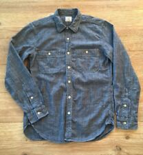 J CREW Blue Chambray Cotton Long Sleeve Button Down Shirt Men's Small