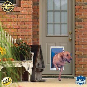 Extra Large Locking Dog Door Aluminum Cat Telescoping Frame Clear Polyvinyl Flap