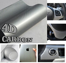 Argent brillant 4D carbone fibre vinyle film adhésif wrap air bulle gratuit autocollant