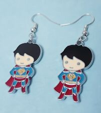 Cute superman hero blue red geekery charm earrings hooks silver plated jewelry