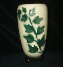 Vintage Royal Copley Large 8 Inch Off-White and Green Ivy Footed Vase