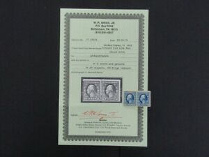 Nystamps US Stamp # 355 Mint OG H $1500 Line Pair Weiss Certificate e20yi