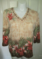 Alfred Dunner Blouse Top 3/4 Sleeve Embellished V-Neck Floral Print Women's XL