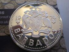 1974 Barbades $10 Dix Dollars Argent Reproduction Pièce De Monnaie Neptune