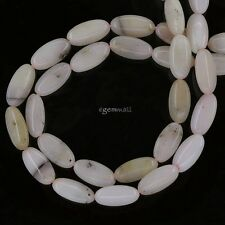 "16"" Pink Peruvian Opal Flat Rice Oval Beads ap. 8x16mm #76194"