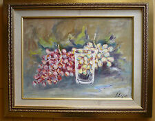 MYSTERY MODERNISM MODERN STILL LIFE COLORISM COLORIST GRAPES AND GLASS, VINTAGE