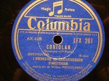 WILLEM MENGELBERG/CONCERTGEBOUW D'AMSTERDAM coriolan BEETHOVEN 78T COLUMBIA VG++