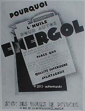 PUBLICITE ENERGOL ESSENCE HUILE POUR AUTOS BIDON DE 1928 FRENCH AD OIL CAR PUB