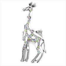 "Giraffe Animal Cocktail Ring Enamel Multi color Crystal Costume Jewelry 2.7"" w"