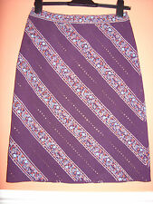 KAREN MILLEN floral STRIPED PURPLE & G0LD A LINE ethnic summer party SKIRT 8 10