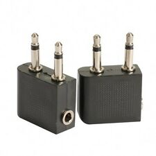 2pcs 3.5 mm to 2 x 3.5 mm Airplane Airline Headphone Audio Jack Plug Adapter