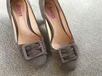 Jones Suede Shoes Beige Size 4UK Front Buckle Mid Heels Good Con