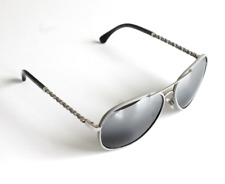 Chanel Aviator Pilot Sunglasses Silver Gray Leather Frame Laced Arms 59mm
