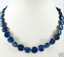 Natural AAA 10mm Lapis Lazuli Coin Beads necklace 17""