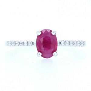 White Gold Ruby & Diamond Engagement Ring - 18k Oval Cut 1.20ctw