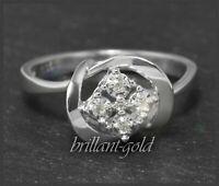 Diamant Weißgold Damen Ring mit 0,06ct, 585 Gold, Cocktailring