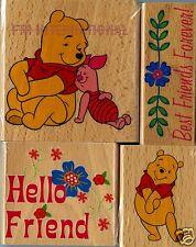 Winnie the Pooh & Piglet ~ 4 pce Disney Wood Mount Rubber Stamp Set #47563, New