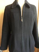 Wallis Black Wool Cashmere Blend Zip Jacket Size 14