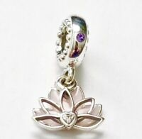 Authentic Pandora SERENE LOTUS DANGLE CHARM W/ Pandora TAG & HINGED BOX#797259CZ