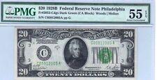 PHILADELPHIA 1928-B $20 DARK GREEN CA BLOCK, PMG Graded ABOUT UNC 55 EPQ