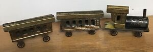 Vintage Early Tin Toy Train Locomotive 2 Cars